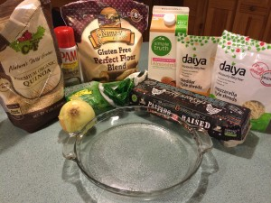 Ingredients for my gluten free, dairy free, vegetarian quiche.